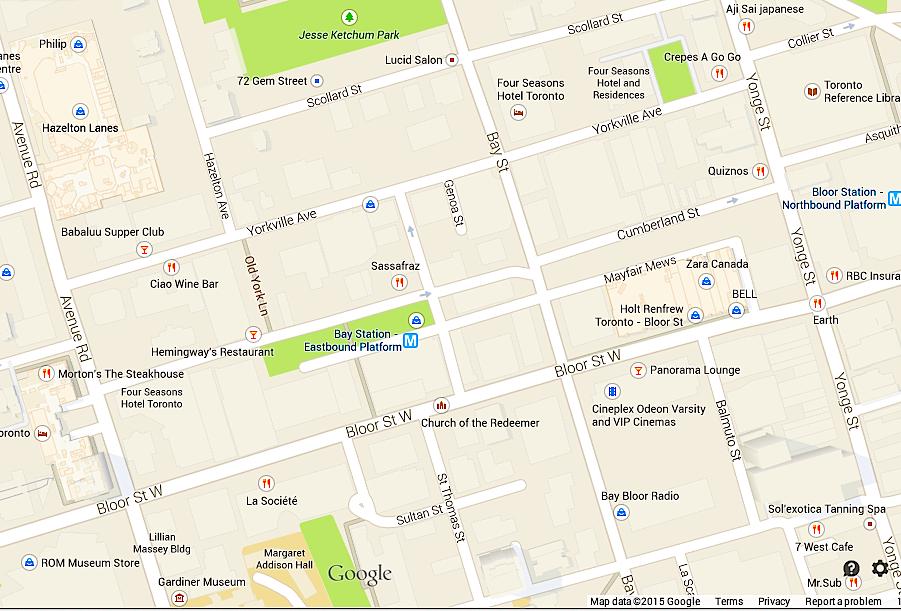Toronto's 'Mink Mile' and adjacent Yorkville area, via Google Maps.