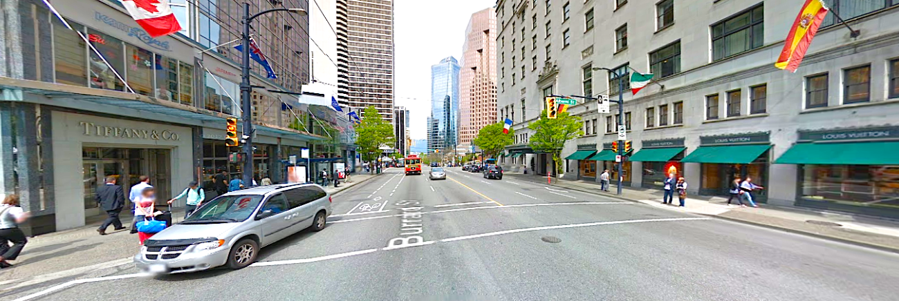 Vancouver's Burrard/Alberni intersection, looking North. Photo: Google Street View screen capture.