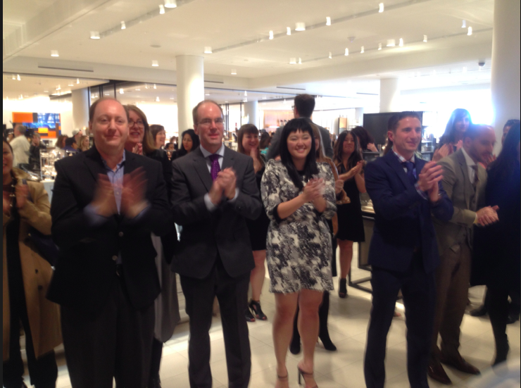 9:30am, September 19 2014: Staff 'clap-in' as shoppers enter the new Calgary store. Photo: Craig Patterson.