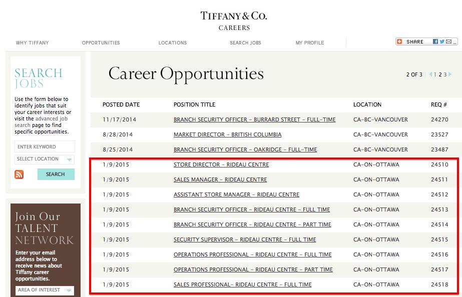 Click image for Tiffany & Co. Ottawa job postings.
