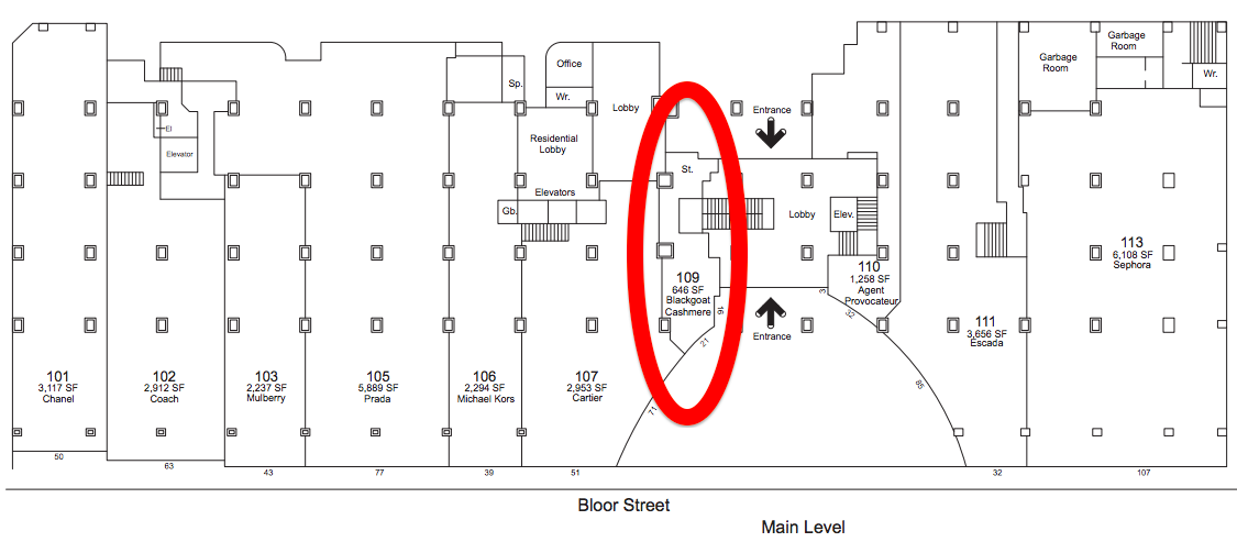 131 Bloor Street West.  Click image  for full lease plan, via landlordMorguard.