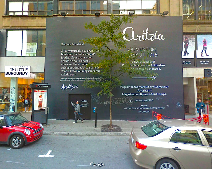 Hoarding for the Montreal flagship, via Google Street View screen capture.