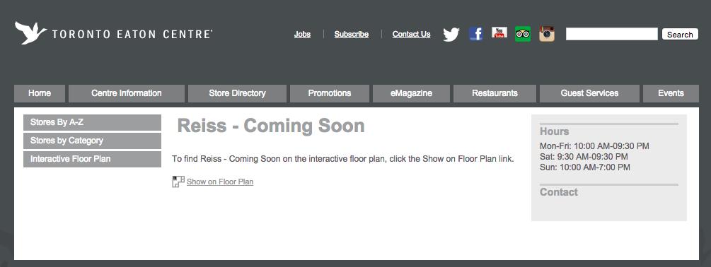 Screen shot - Toronto Eaton Centre website.
