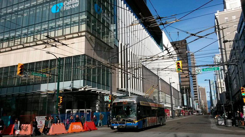 Pacific Centre's new Robson Street entrance is under construction. Photo: 'Granville Street' Twitter account.