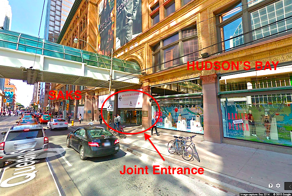 View from Queen St., looking east towards Yonge St. Photo: Google Street View screen capture.