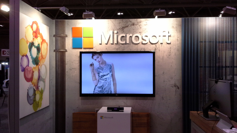 Swivel virtual dressing room using Microsoft's Xbox Kinect technology, featured at Microsoft's booth