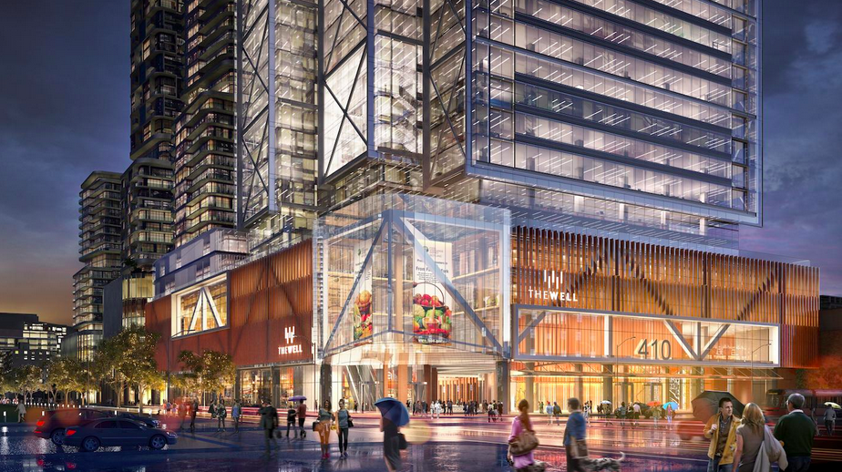 A grocery store is proposed for the 2nd level of the first tower of Toronto's 'The Well'. Rendering: Diamond Corp.