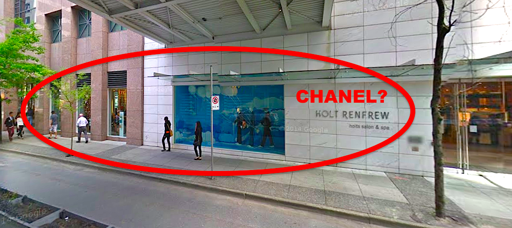 Sources speculate that Chanel could gain a streetfront presence on Dunsmuir Street. Photo: Google Street View screen capture.