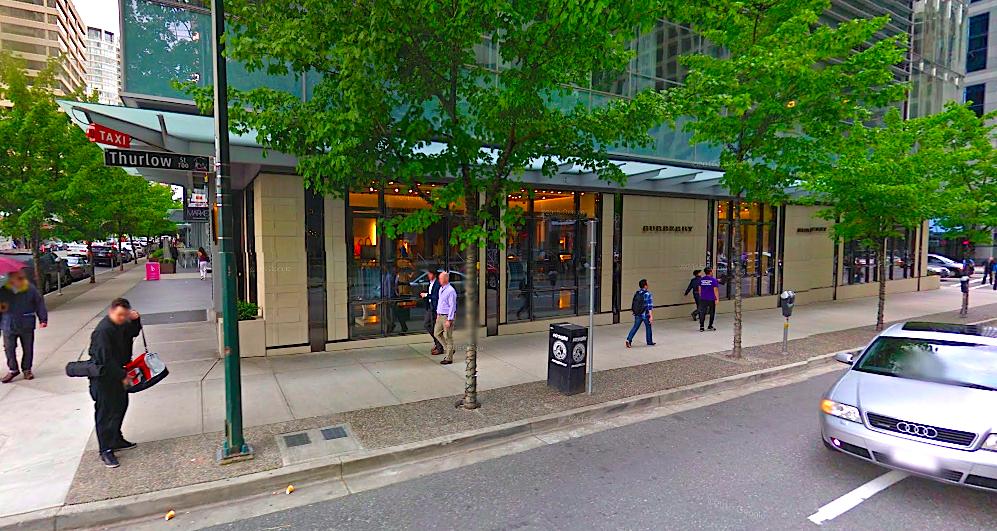 Burberry, 1101 Alberni Street, Vancouver.Photo: Google Street View screen capture.