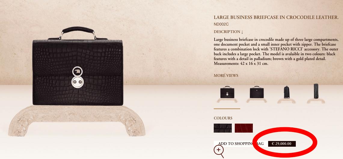 Screen capture, Stefano Ricci website