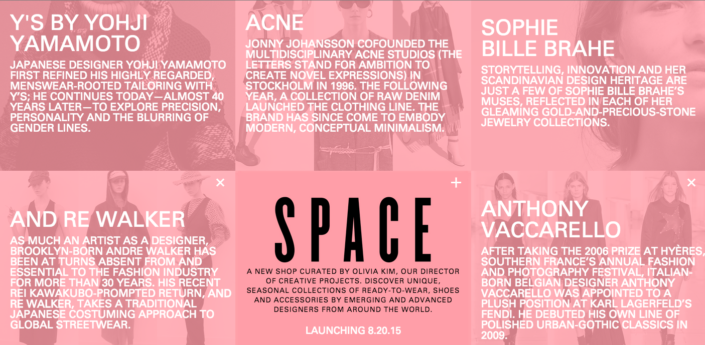 Click image to go to Space's section of the Nordstrom.com website, including a full list of featured designers.