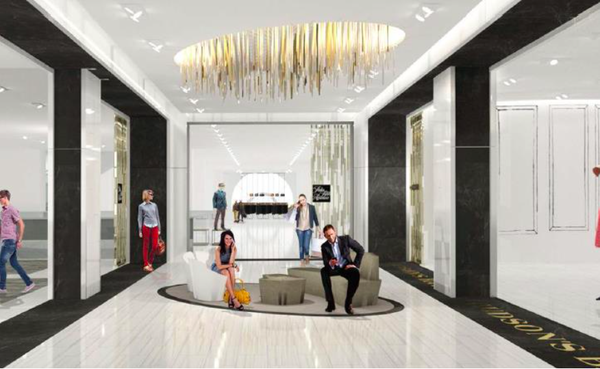 Second-floor entrance via Eaton Centre pedway, showing Saks on the left and front, Hudson's Bay on the right. Rendering: Hudson's Bay Company