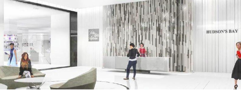Ground-floor Saks/Bay concierge. Rendering: Hudson's Bay Company
