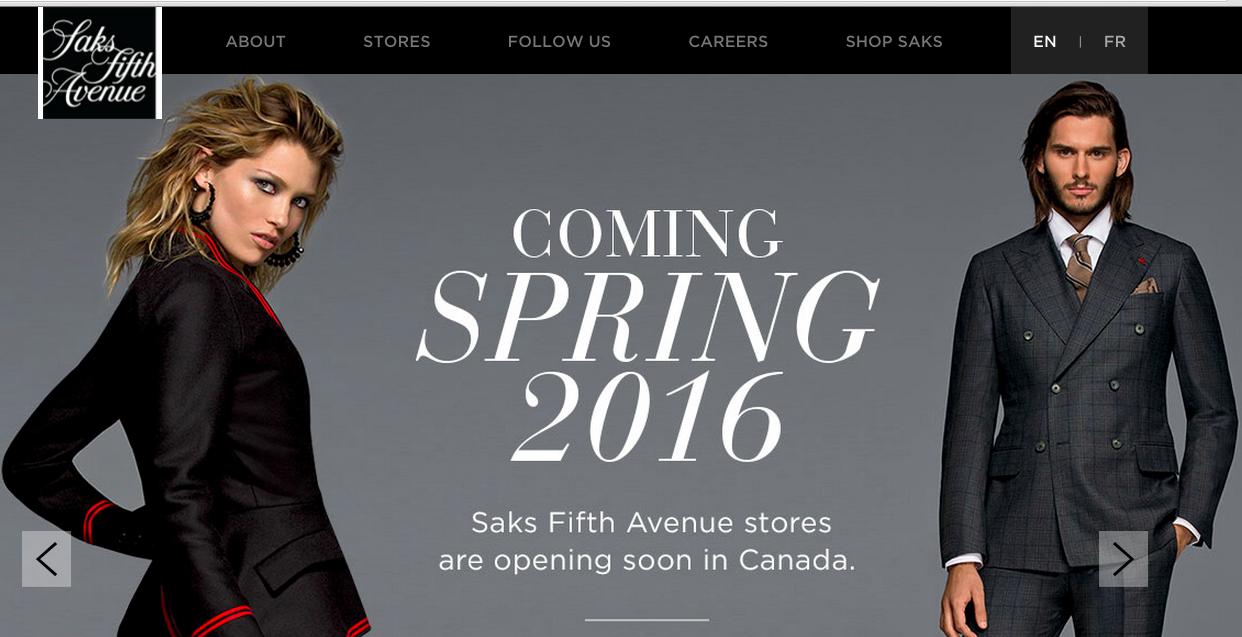 Screen capture, Saks.ca