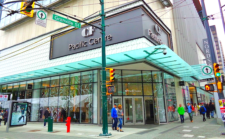 'CF' in front of Cadillac Fairview Mall names. Photo: mcminsen , Vancouver Skyscraper Forum