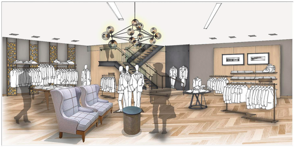 Sherway men's department. Rendering courtesy of Saks Fifth Avenue
