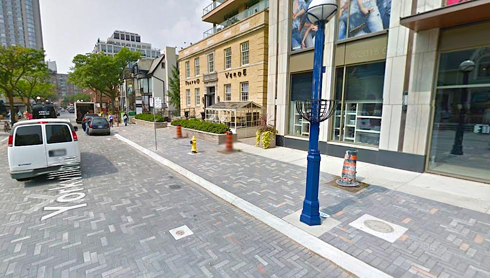 Yorkville Avenue's new paving stones. Photo: Google Street View