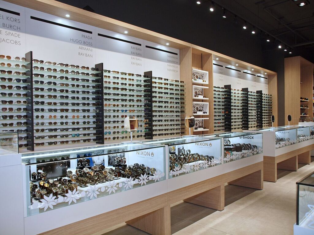 Sunglass wall and watch display cases. Photo:  Peregrine.Build
