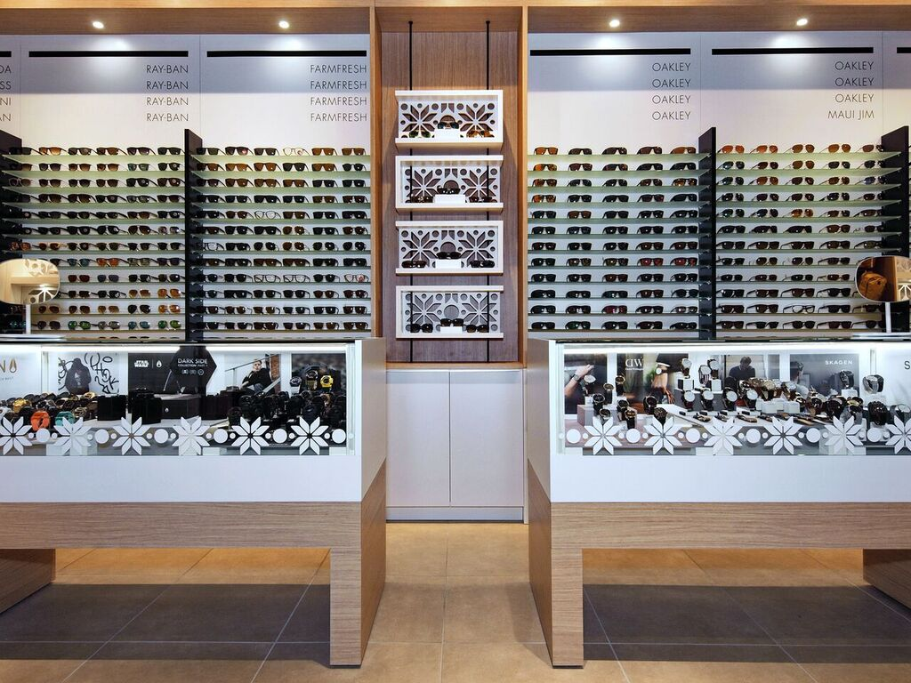 Sunglass display wall and cases. Photo:  Peregrine.Build