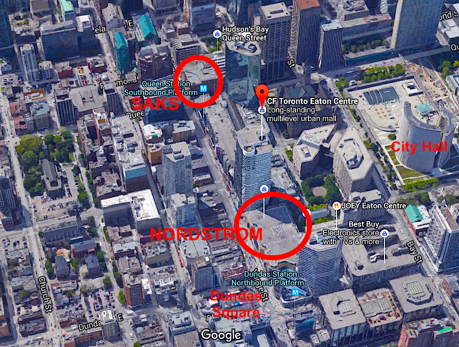 Looking south along Yonge Street. Click photo for interactive Google Map version