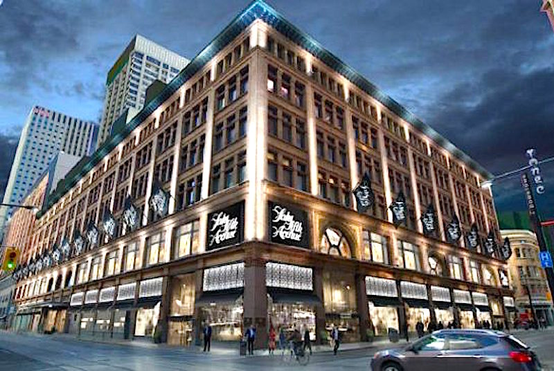 Saks as seen from the corner of Yonge and Richmond Streets. Rendering: HBC