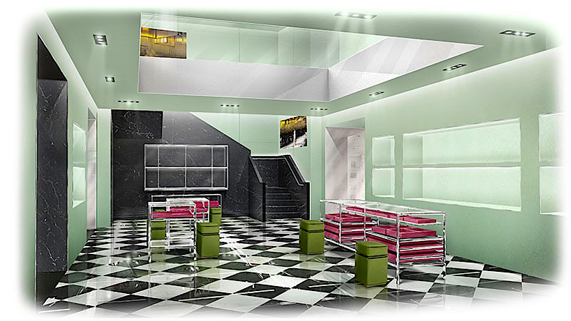 Black-and-white marble checkered flooring will be featured throughout much of the new Vancouver store.