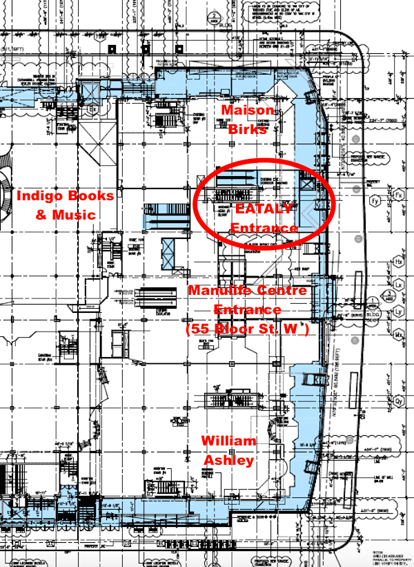 Ground floor plan, showing Manulife's retail expansion in blue. Eataly would have an exterior entrance facing Bloor Street West, between the centre's main entrance and Maison Birks. Plans show a new elevator, stairway and escalators upstairs to Eataly's 2nd-level retail floor.