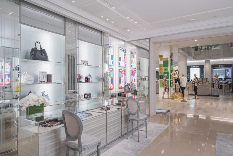 Looking out towards Saks' cosmetics department from within the Dior concession.