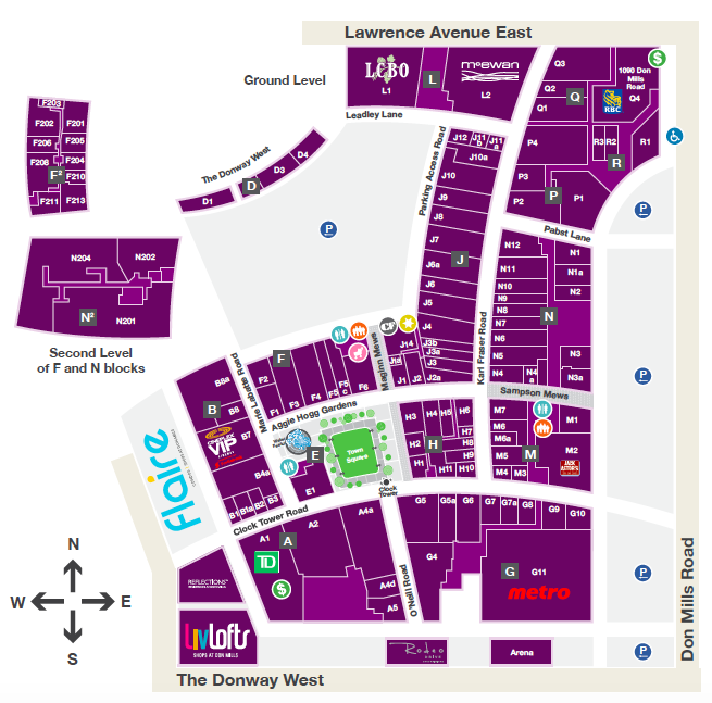 Click map to download full PDF mall directory, provided by Cadillac Fairview.