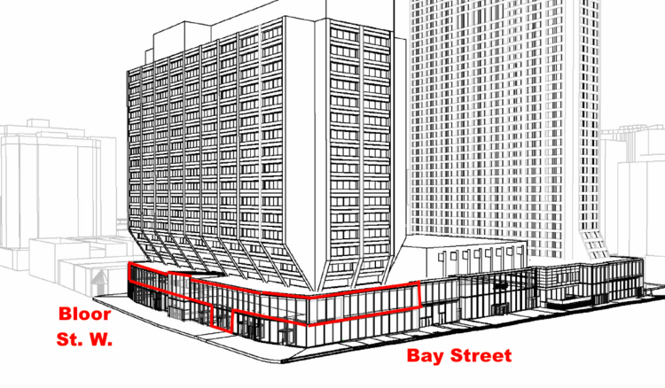 Rendering with Eataly outlined in red. Most of Eataly's retail space is on Manulife Centre's second level.