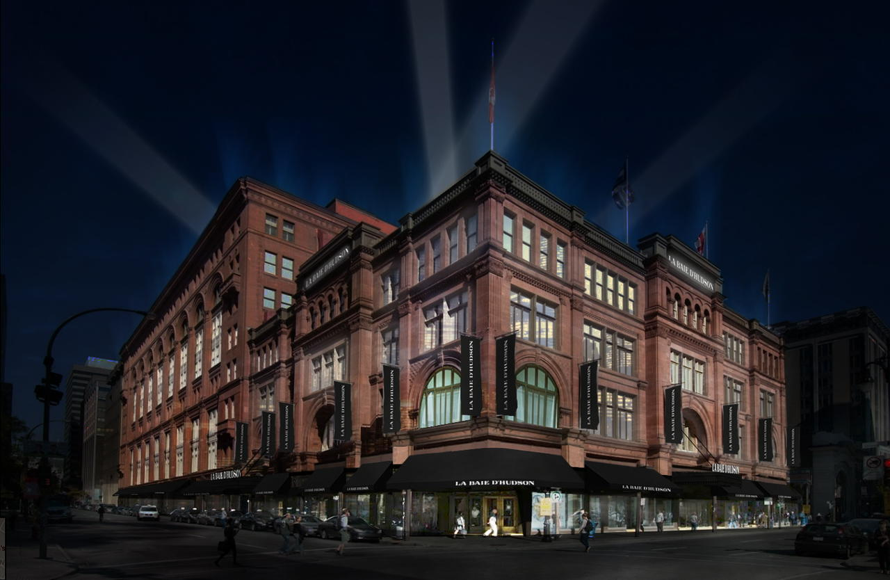 Rendering of the completely renovated Hudson's Bay flagship, fronting onto Sainte Catherine Street West.