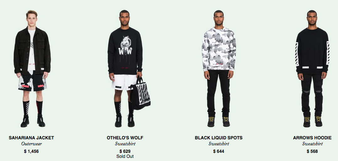 Click above to view men's Off-White e-commerce site (US$)