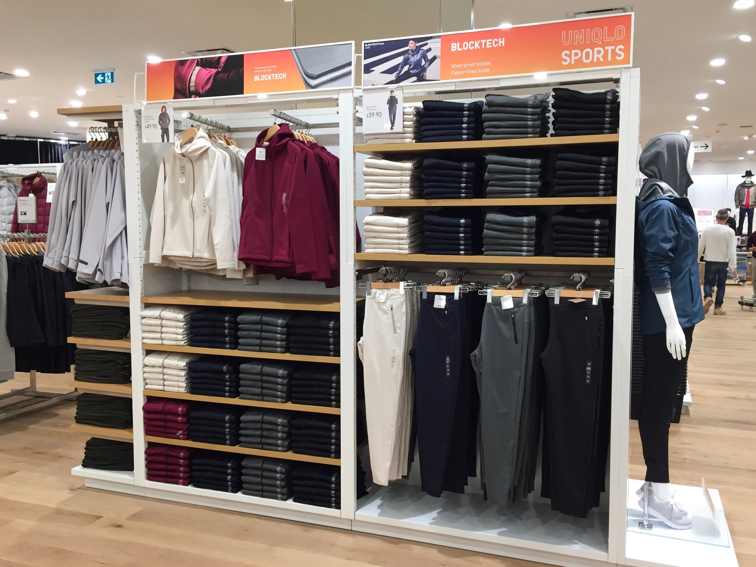 A variety of sportswear using Uniqlo's BlockTech fabric.Photo: Devon Johnson