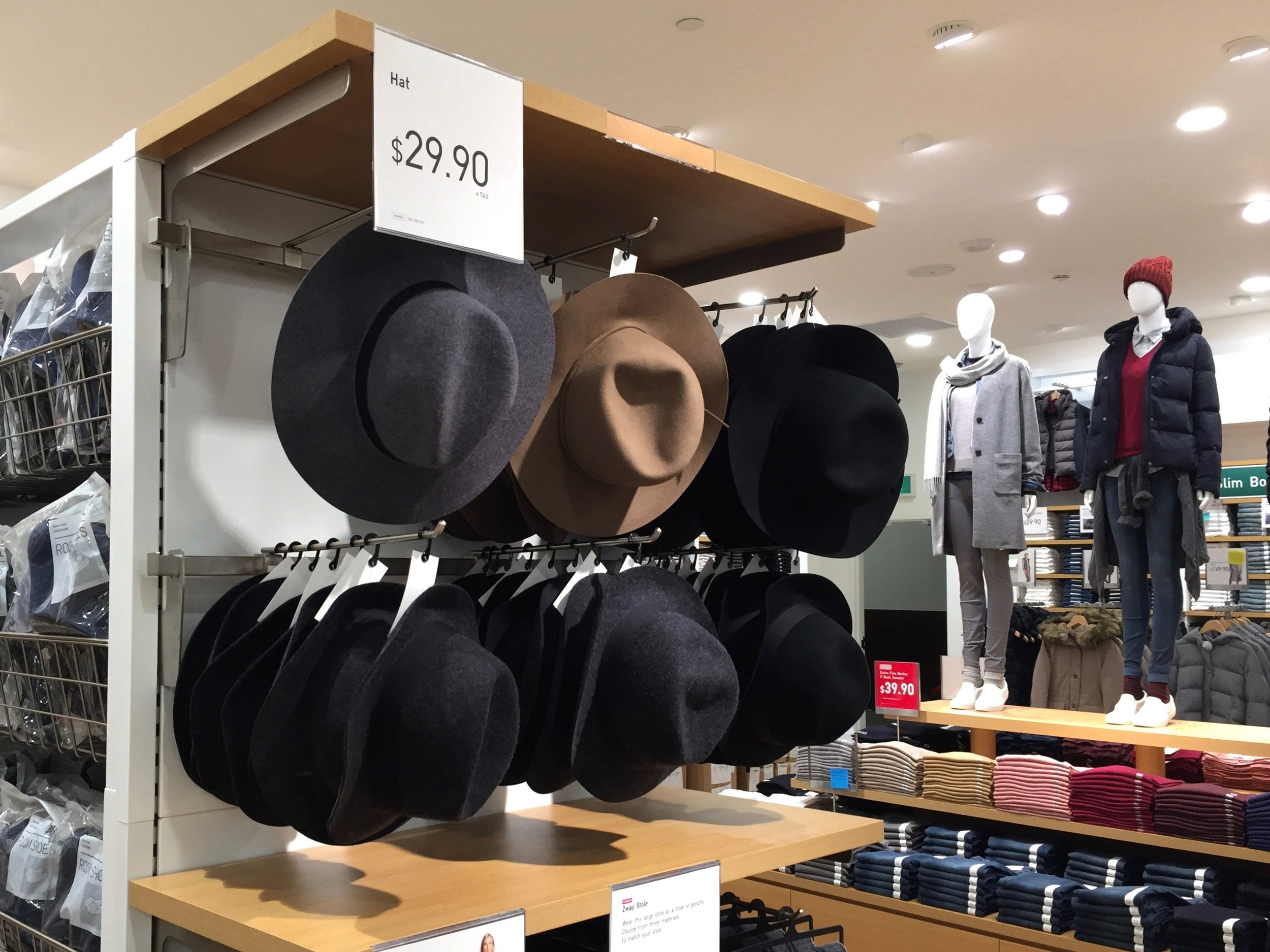 Hats, underwear, and socks are found on the second floor.Photo: Devon Johnson
