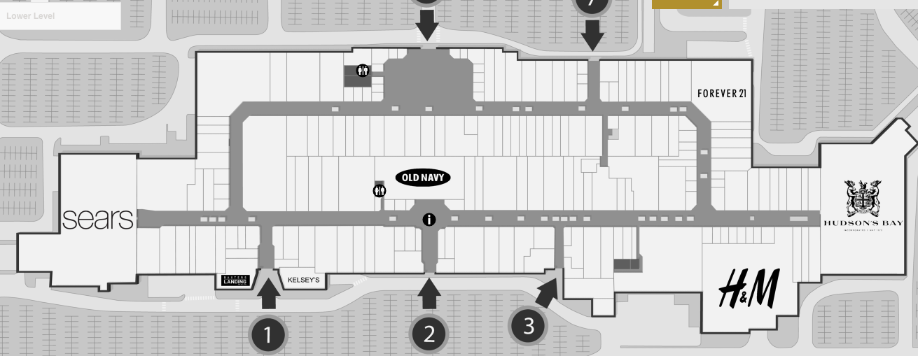 Updated mall plan. Click above for interactive mall map.