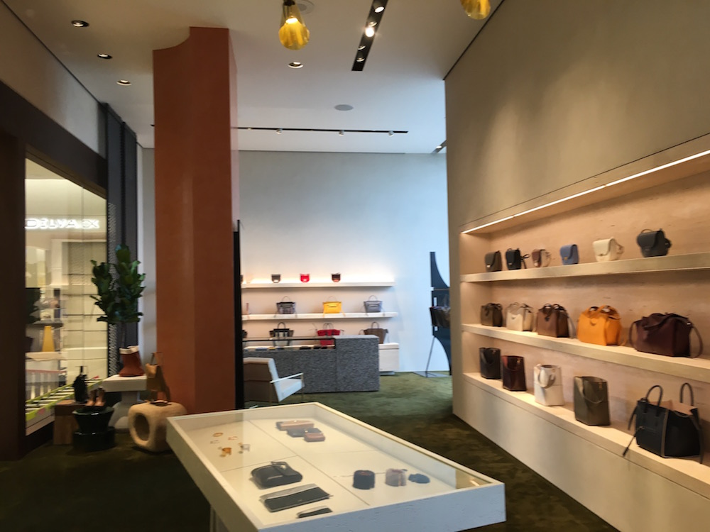 (Inside the impressive Celine accessory boutique)