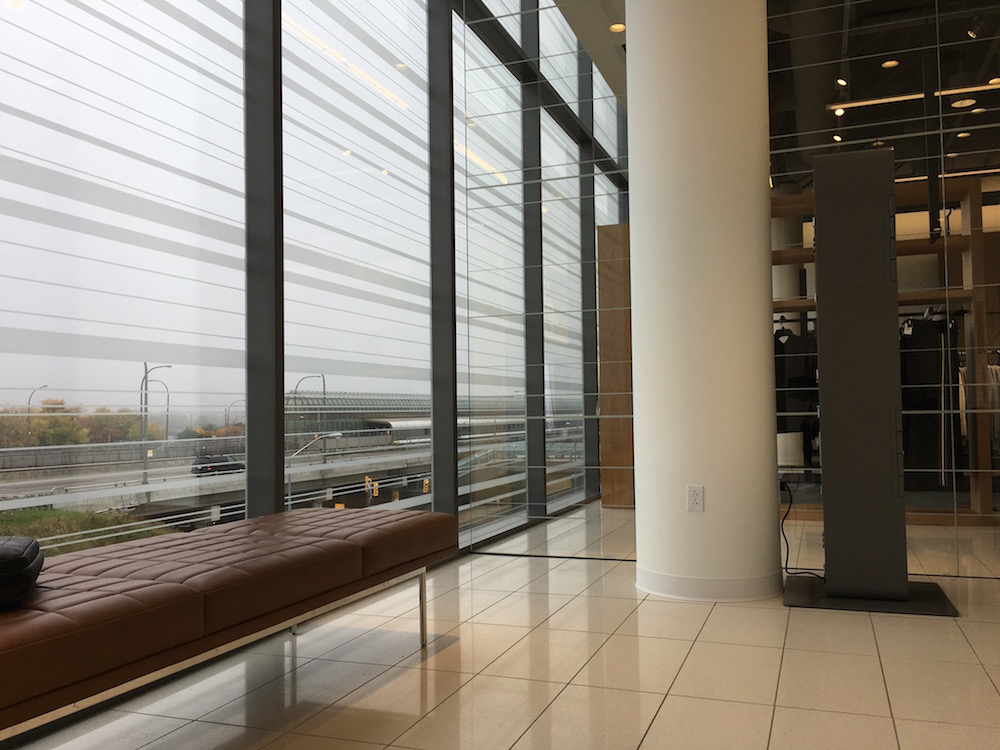 (Natural light, and a view of the Yorkdale subway station from the elevator banks in the new store. Monday, October 17 was a cloudy/foggy day in Toronto)