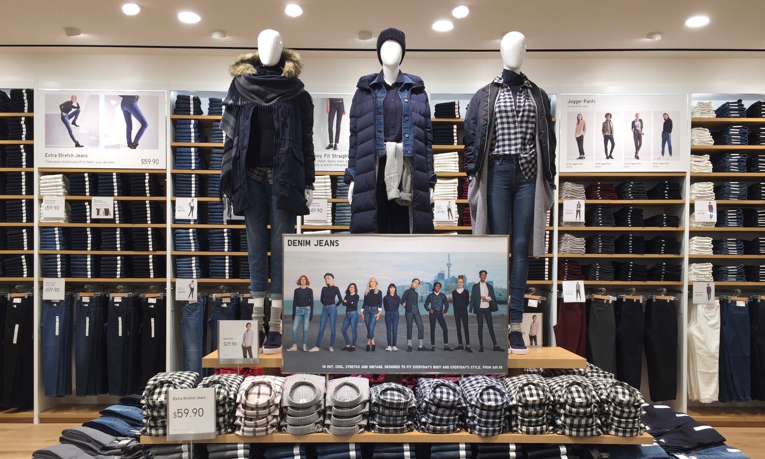 Denim jeans are found on the second floor.