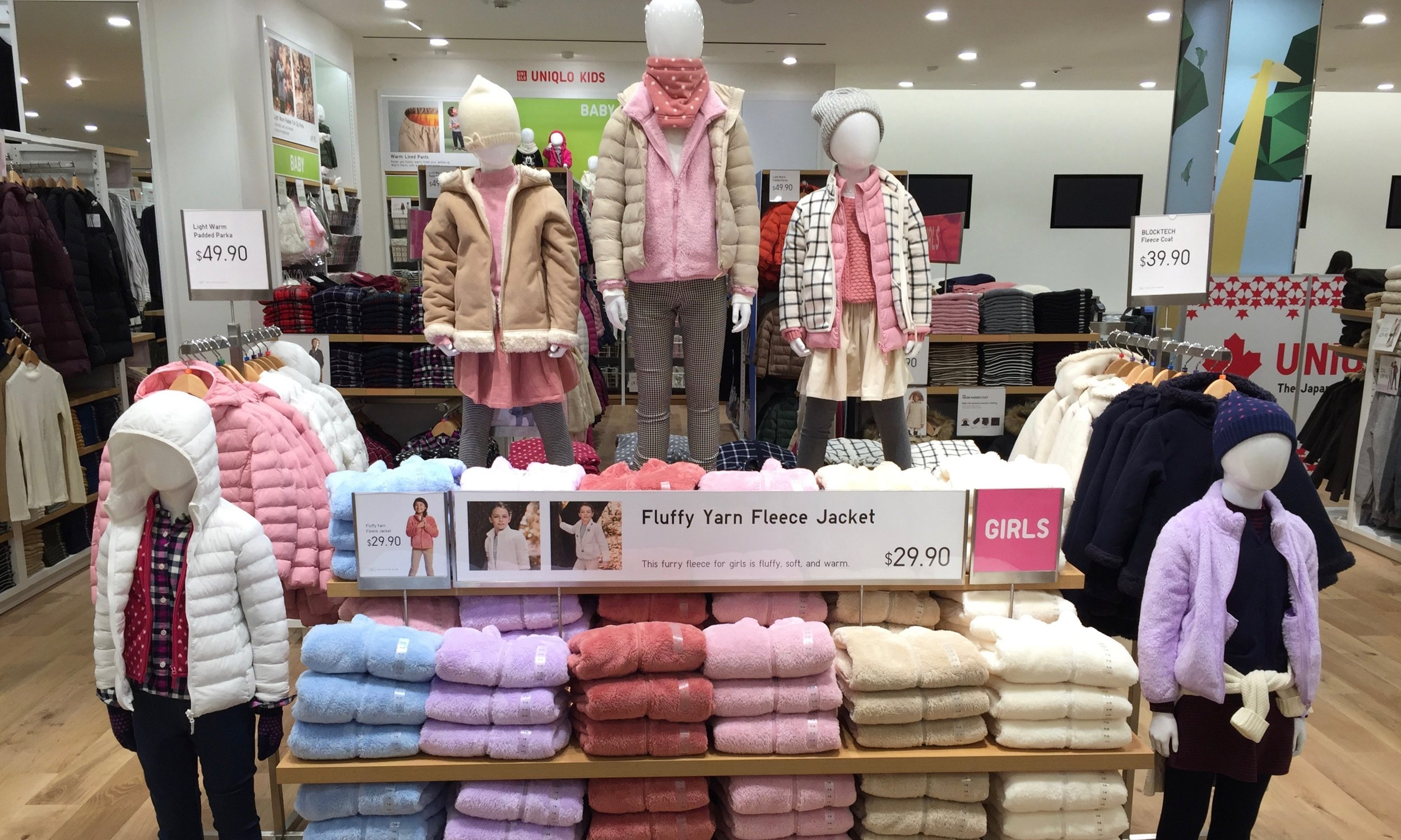 Flurry yarn fleece jackets for girls are found on the second floor