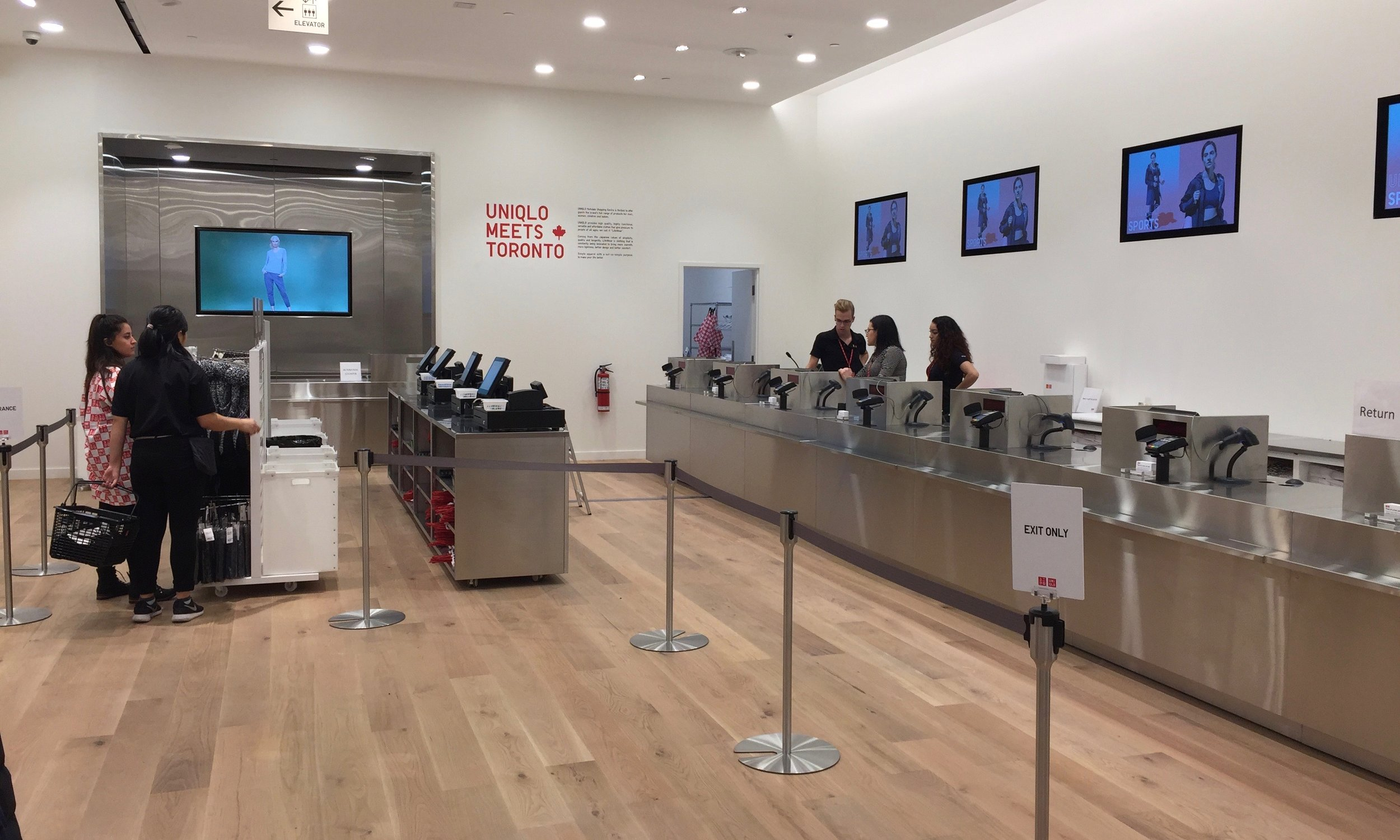 One of two cash register bays