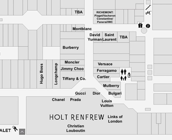 (Yorkdale's 'luxury wing' near Holt Renfrew. Click image for interactive Yorkdale mall map)