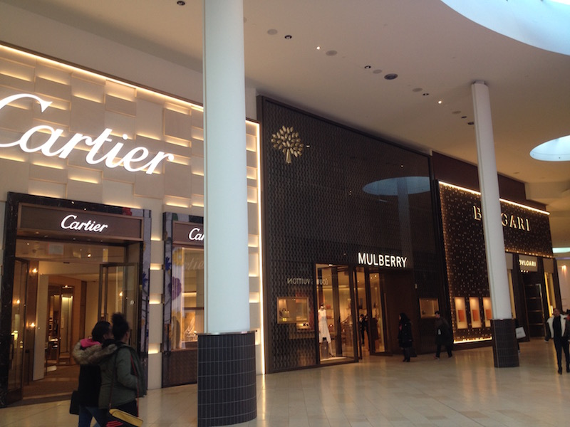 (Cartier, Mulberry and Bulgari in Yorkdale's 'luxury wing'. Photo: Craig Patterson)