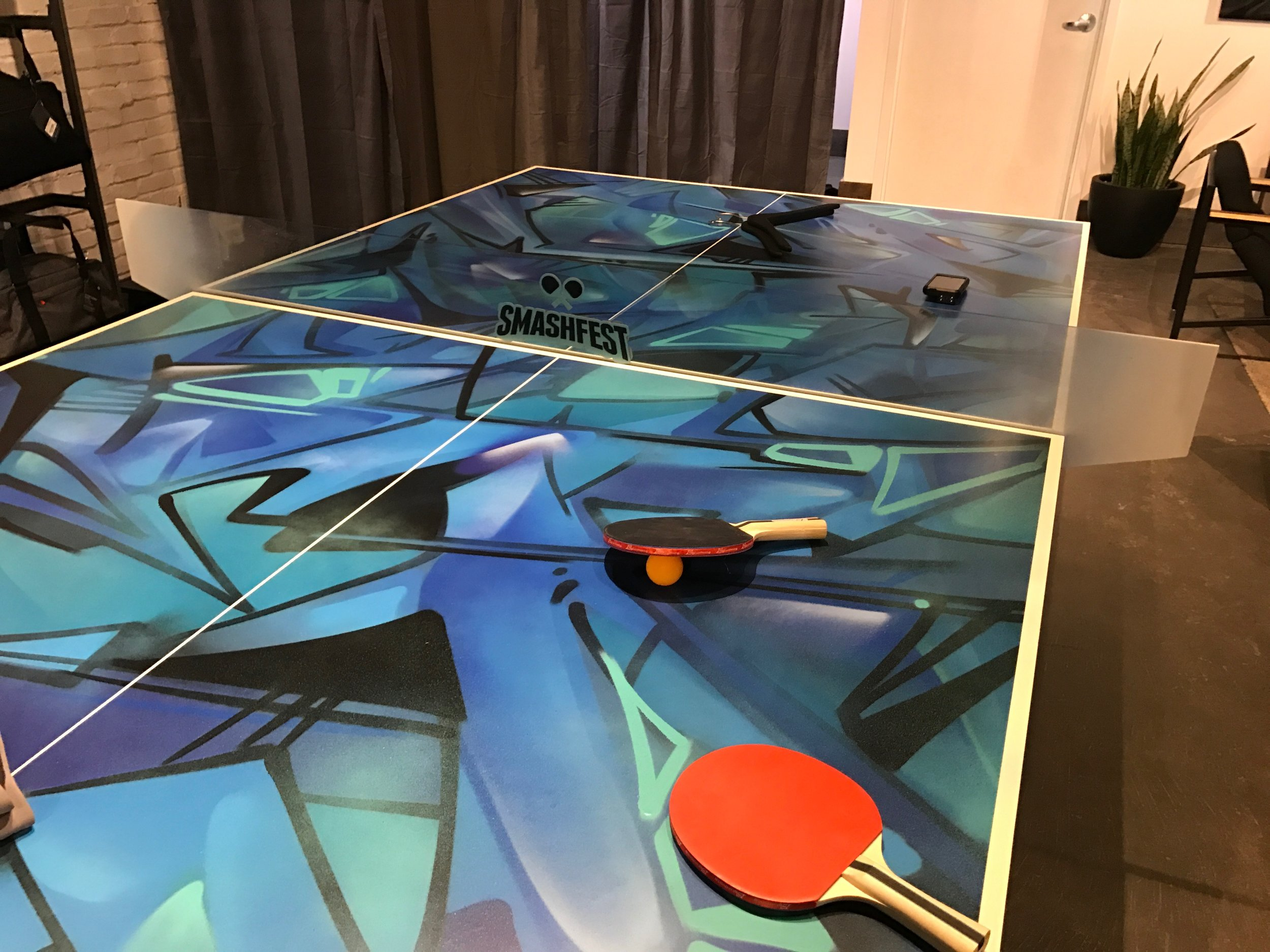 (Ping-pong table in the new store)