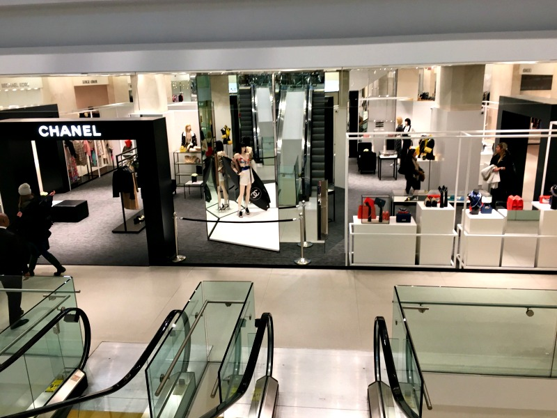 (Viewing the Chanel pop-up from the top of the escalators on the mezzanine shoe/restaurant floor)