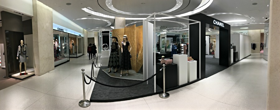 (elongated view of Holt's second floor, showing the existing Chanel concession to the left, and the pop-up to the right)