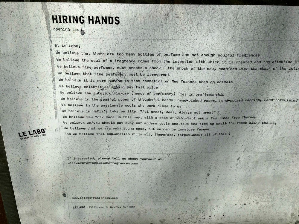 (job posting in the window of toronto's new le labo store)