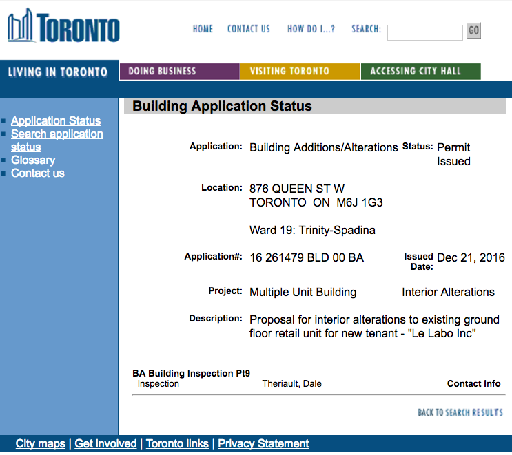 (A building permit was granted for the new toronto store, late last year)