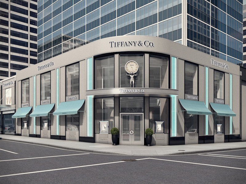 (Rendering of Vancouver's expanded tiffany & co. flagship at Burrard and alberni streets. when completed this spring, it will be the company's largest canadian store)
