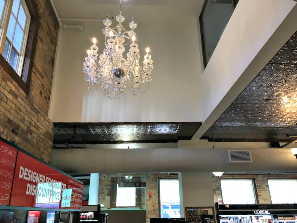 (one of several restored chandeliers in the new brunswick house rexall)