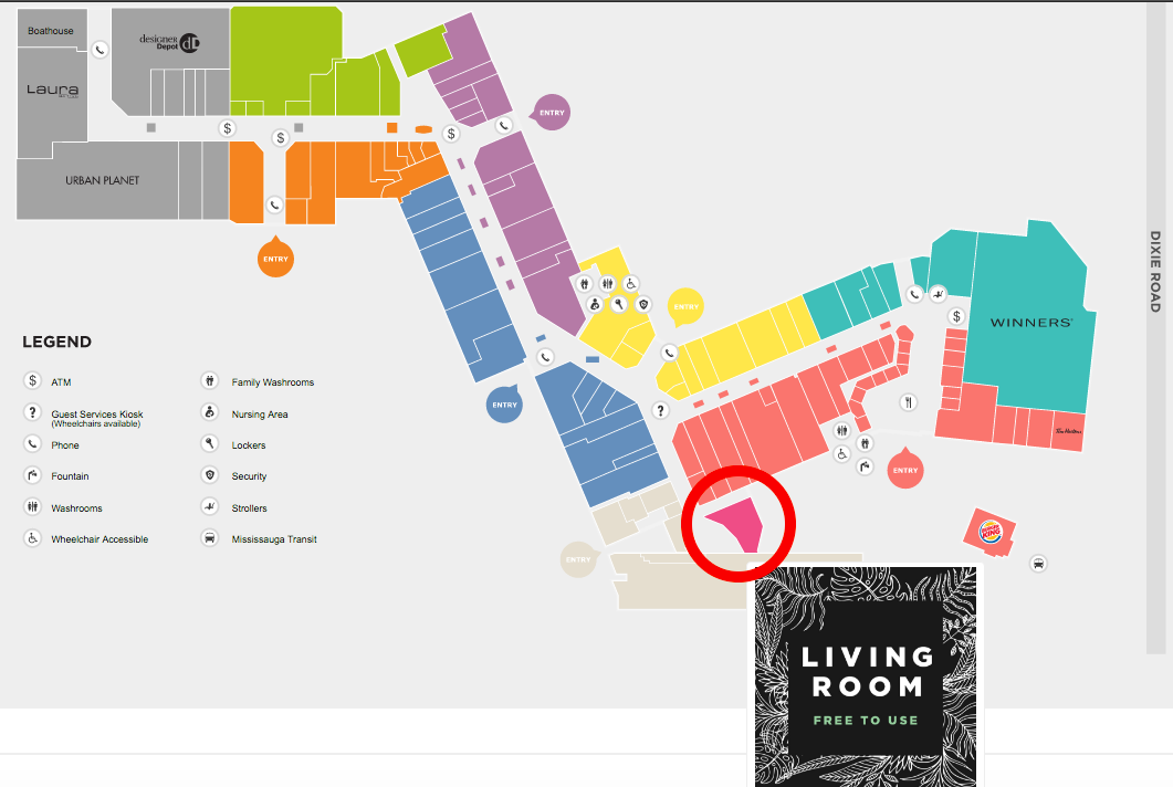 ('living room' circled in red. click image for interactive dixie mall map)